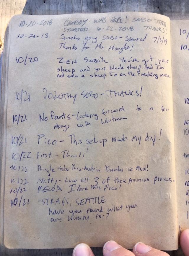 Hiker Register, November 5 – PCT 145 Trail Angel Mary
